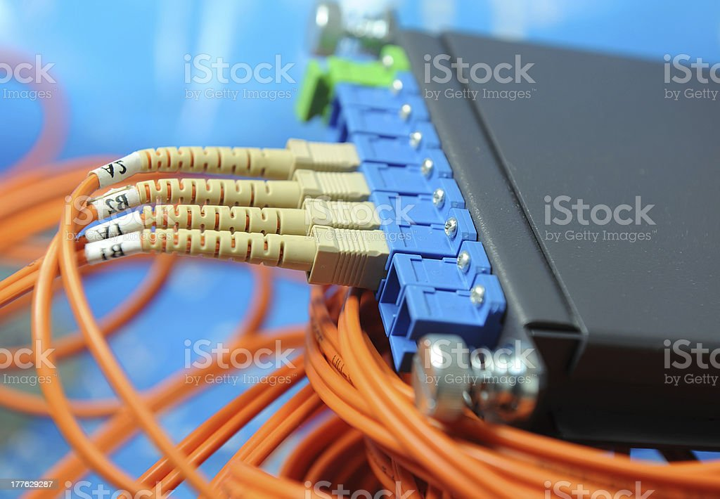 fiber optic cable in Technology center royalty-free stock photo