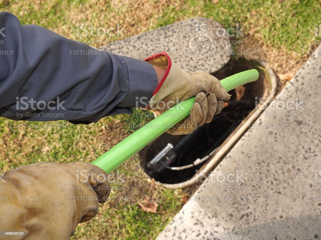 Fiber optic cable installation site of the National Broadband Network stock photo