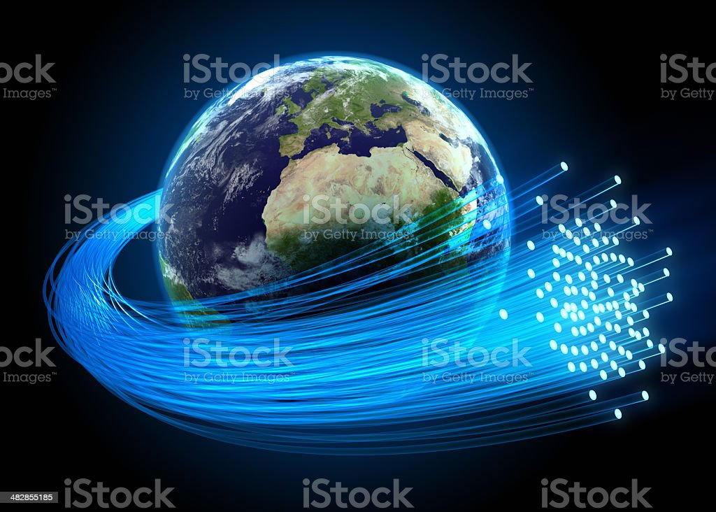 Fiber optic cables around Earth stock photo