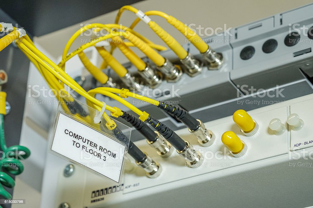 fiber optic cables stock photo