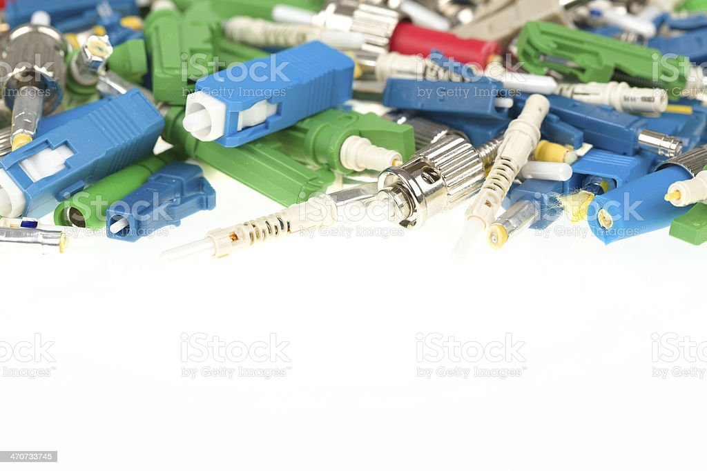 Fiber optic connectors stock photo