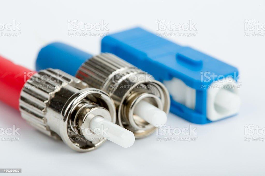 fiber optic connectors, ST, SC and FC stock photo
