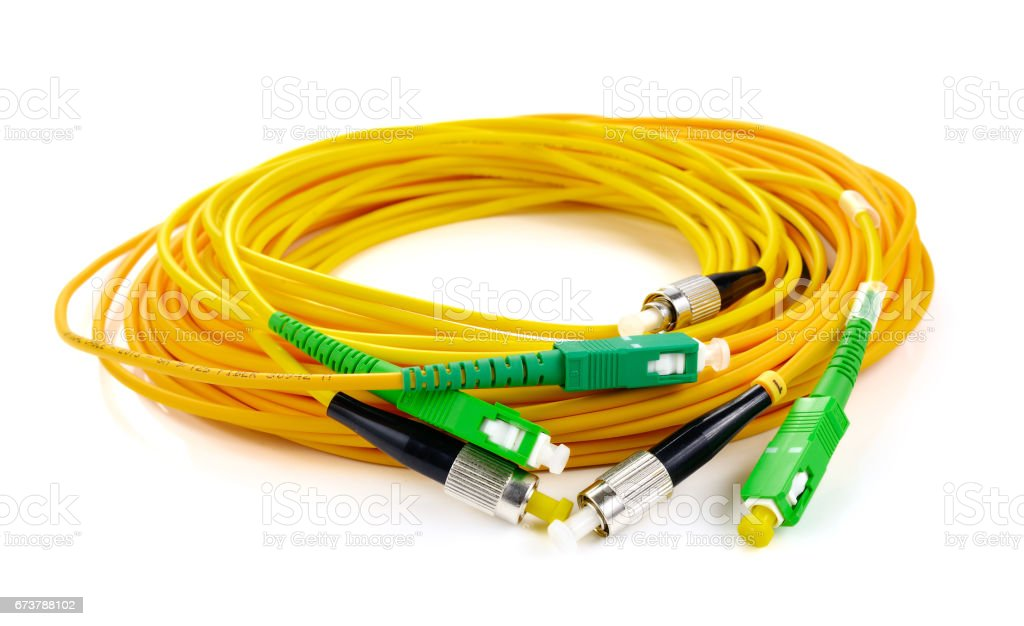 Fiber optic connectors, used fiber optic cables which is responsible for transmitting data at larger distances stock photo