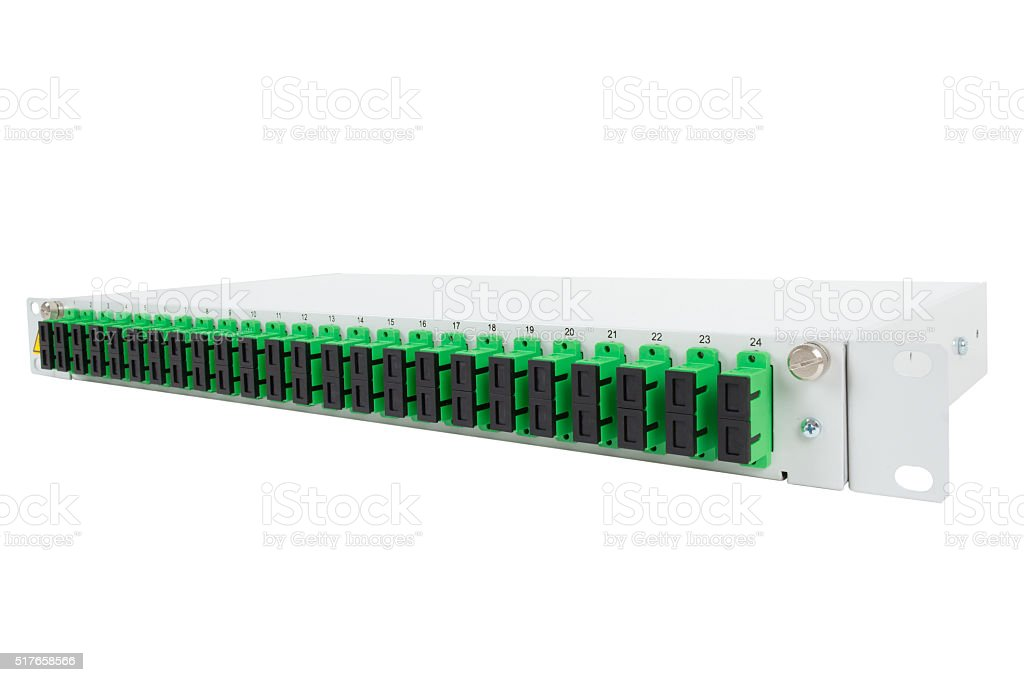 Fiber optic distribution frame with SC adapters stock photo