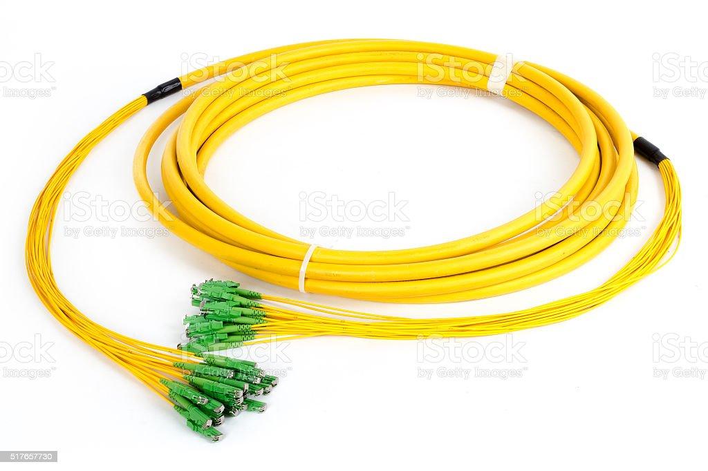 fiber optic E2 (LSH) pigtail, patchcord stock photo