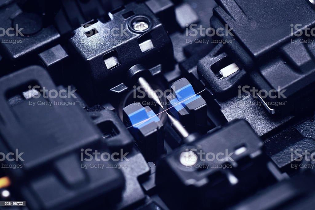 Fiber optic fusion splicer stock photo