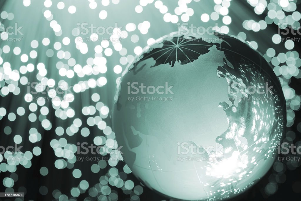 Fiber optic global internet concept stock photo