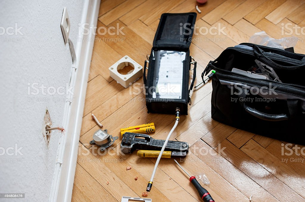 Fiber optic instalation stock photo