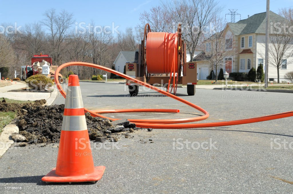 Fiber Optic Install stock photo