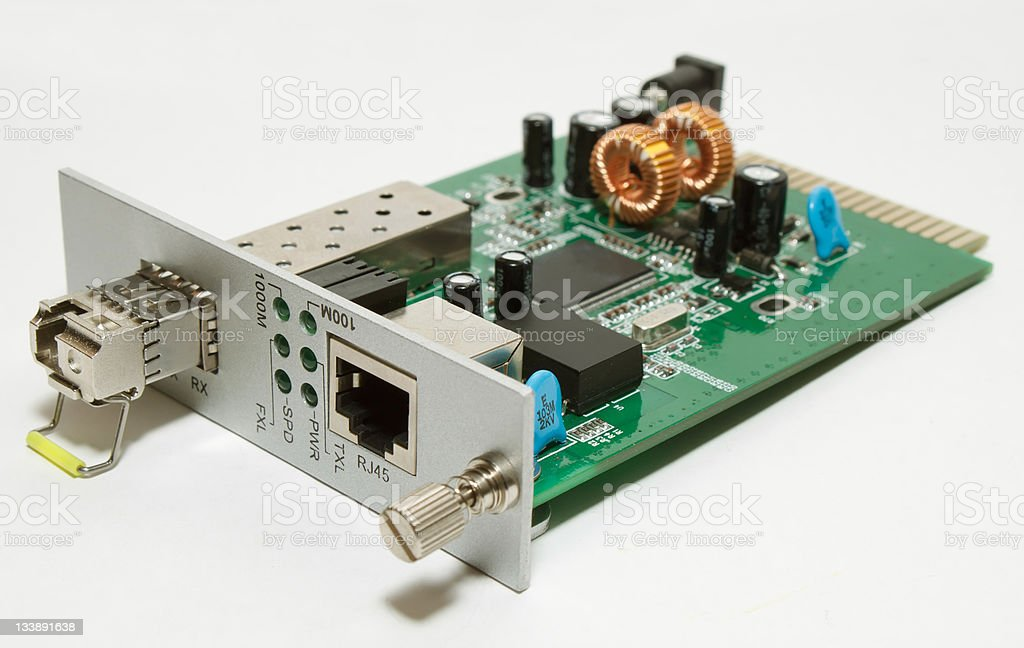 Fiber optic Media converter card with SFP stock photo
