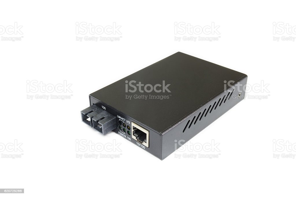 Fiber optic Media converter with metallic RJ45 connector stock photo