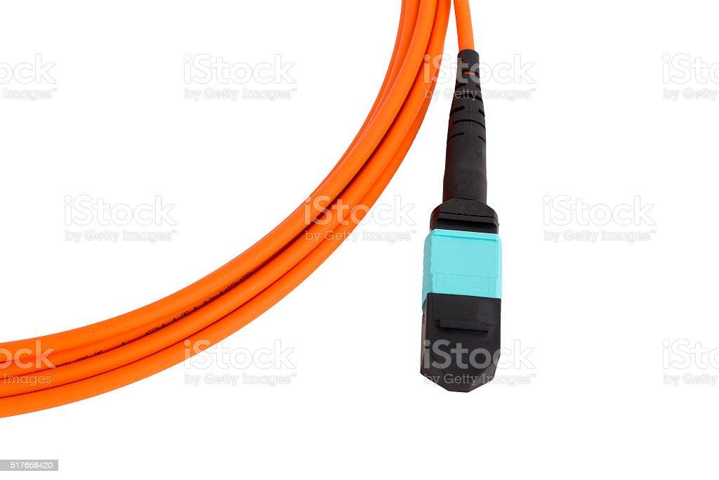 fiber optic MTP (MPO) pigtail, patchcord connectors stock photo