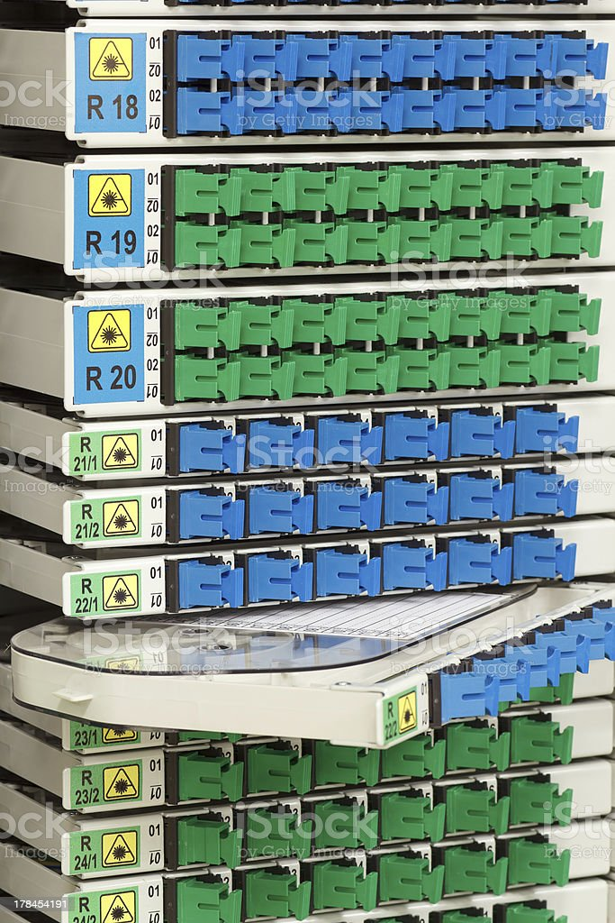 fiber optic rack with high density of connectors royalty-free stock photo