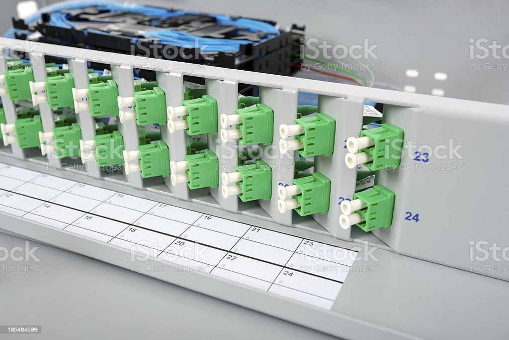 Fiber optic splice cassettes stock photo