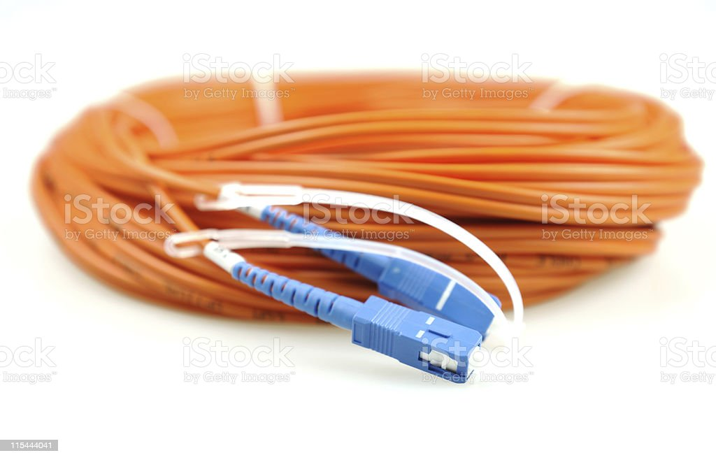 fiber optical network cable stock photo