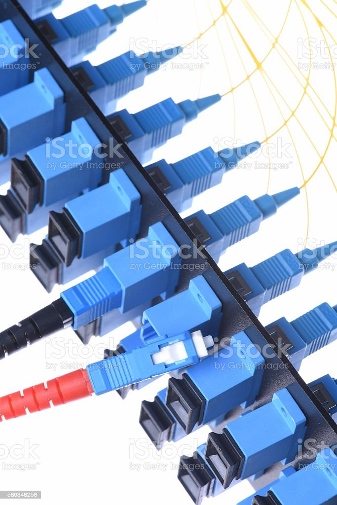 Fiber optical network cable with optical distribution frame stock photo