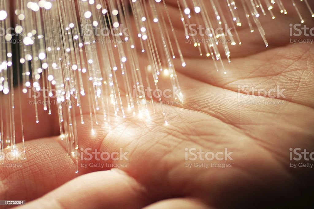 Fiber Optics & Hand stock photo
