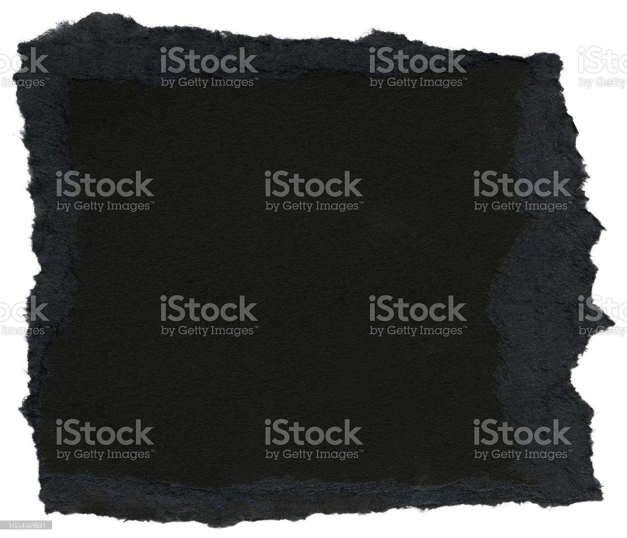 Fiber Paper Texture - Black with Torn Edges XXXXL royalty-free stock photo