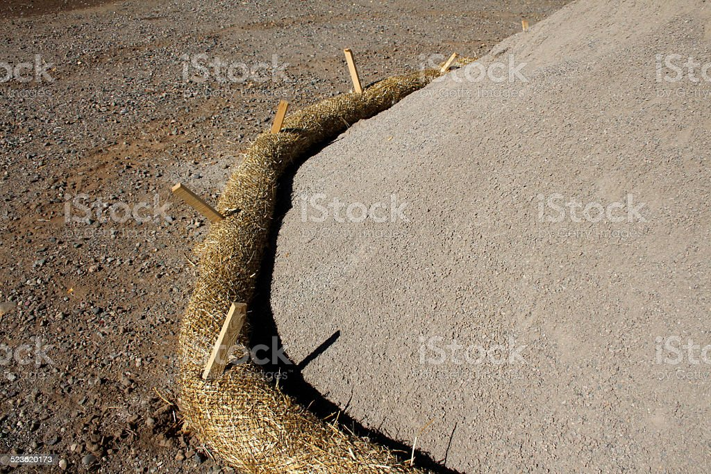 Fiber roll, stakes and construction materials stock photo
