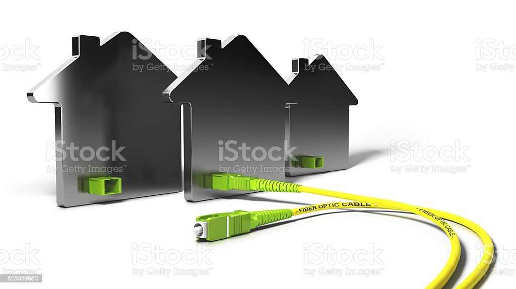 FTTH, Fiber To The Home 3D Illustration stock photo