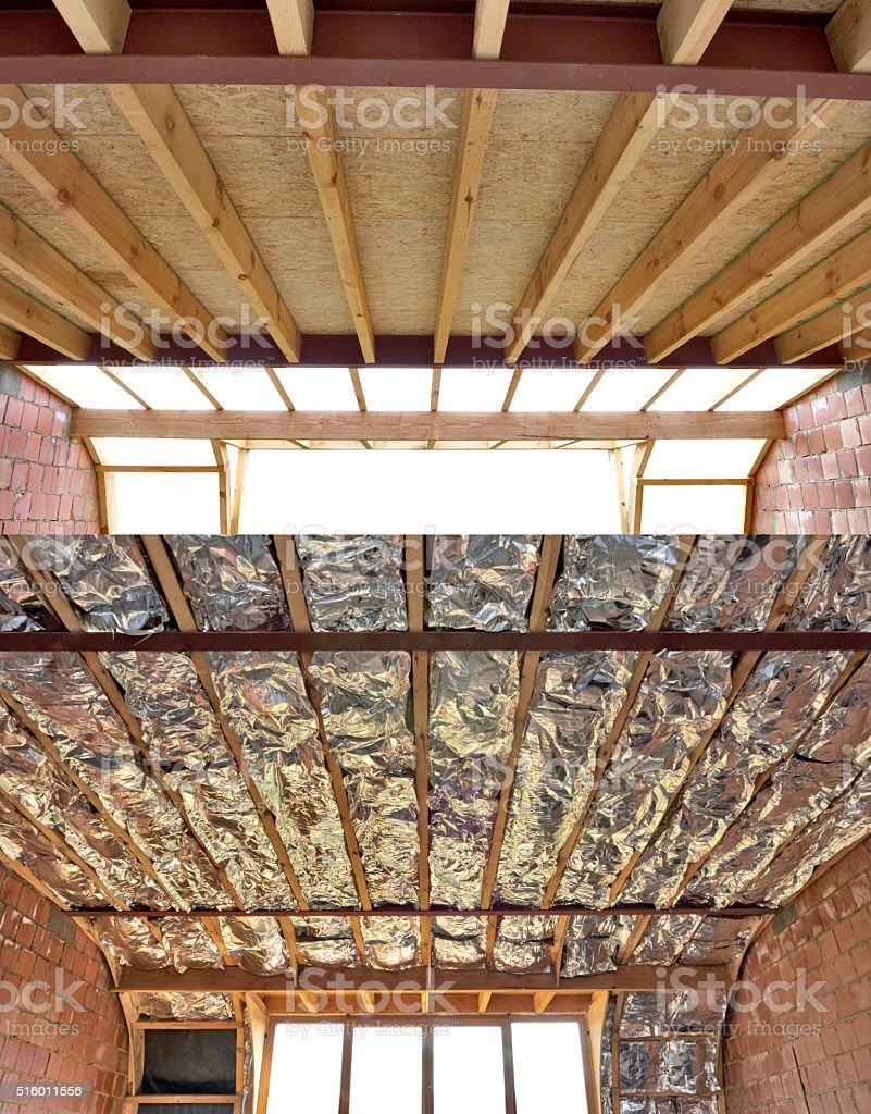 Fiberglass batt insulation stock photo