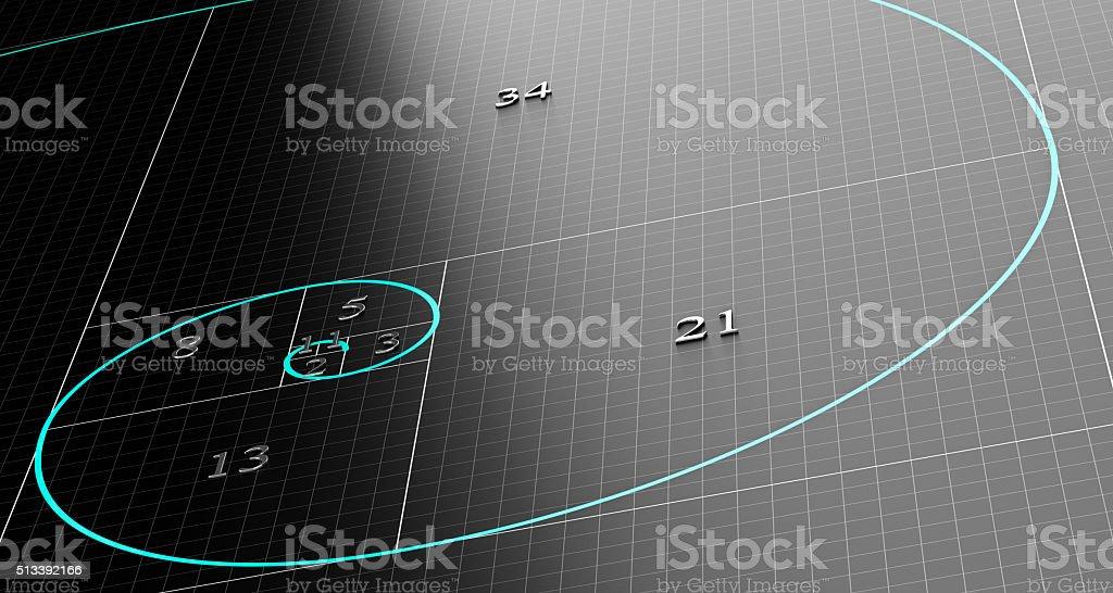 Fibonacci Spiral or Sequence stock photo