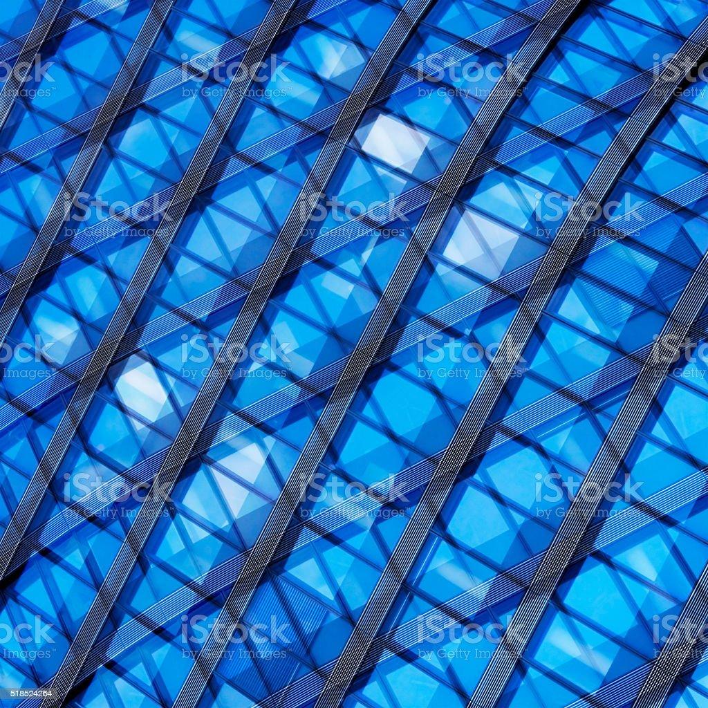 Fictional hi-tech facade. Double exposure photo of contemporary architectural fragment. stock photo