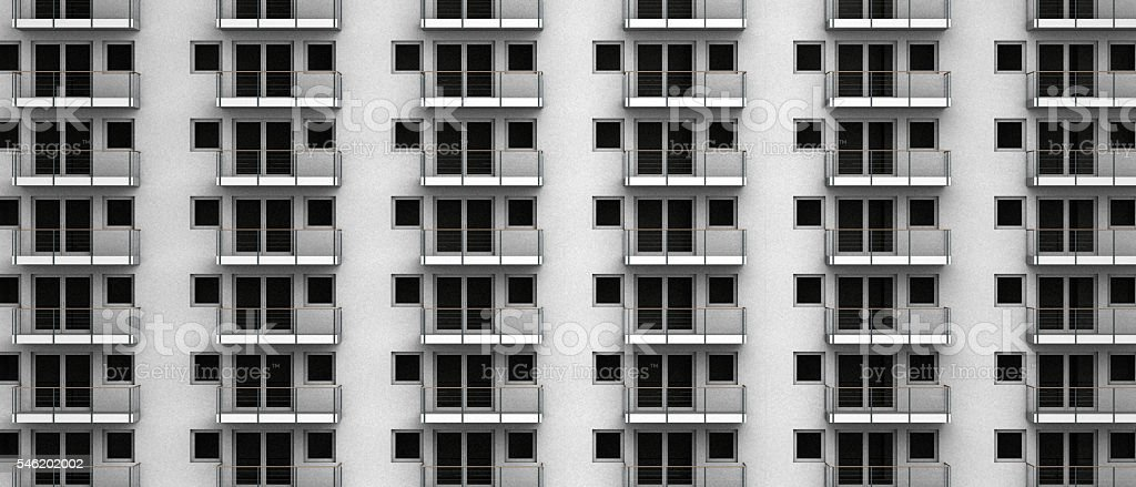 fictitious 3D rendering of anonymous apartments in a city highrise stock photo