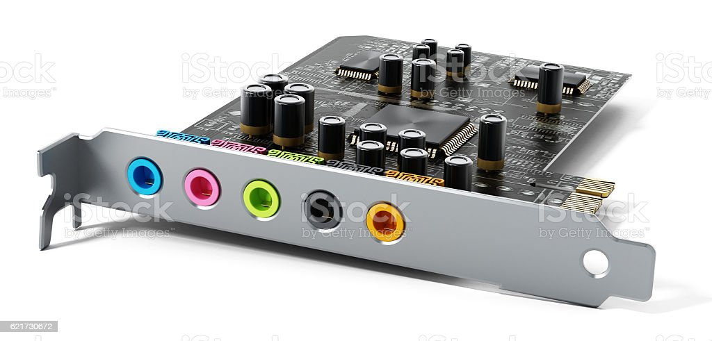 Fictitious computer 5.1 surround  sound card design stock photo