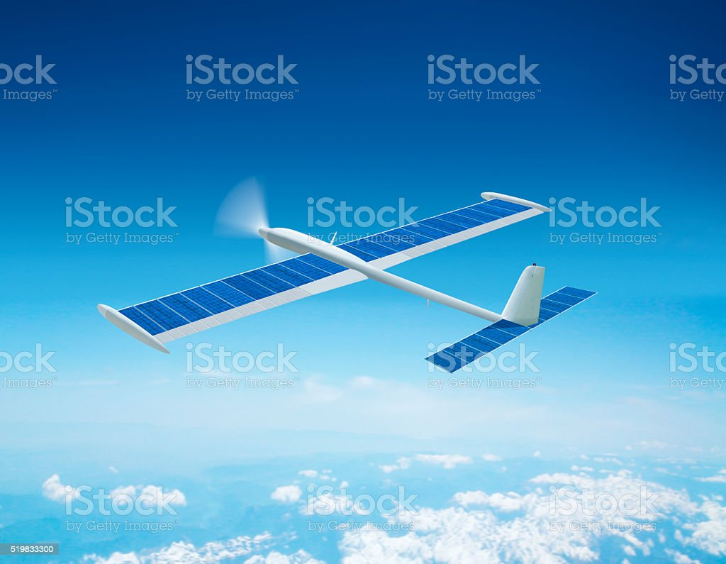 Fictive flying solar airplane stock photo