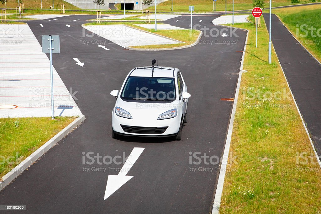 Fictive self driving car stock photo