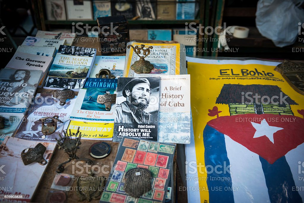 Fidel Castro book at market in Havana, Cuba stock photo