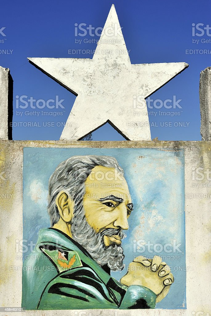 Fidel Castro painted Revolution monument, Cuba stock photo