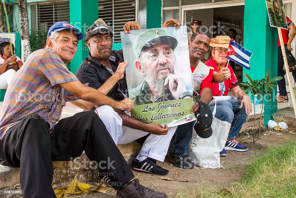 Fidel Castro's supporters in the streets of Santiago... stock photo