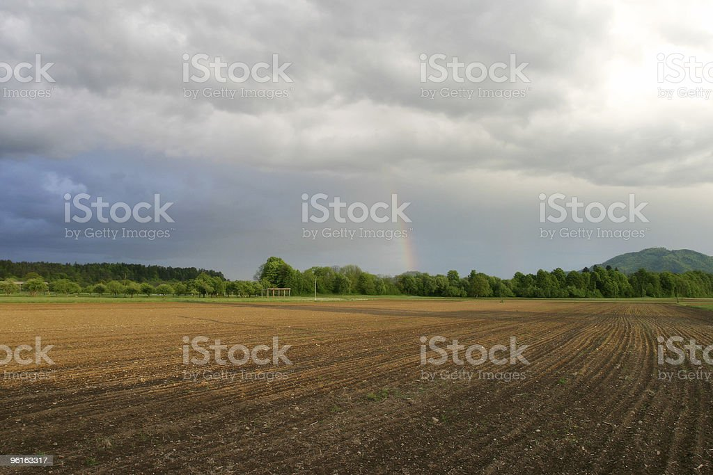 field after storm stock photo
