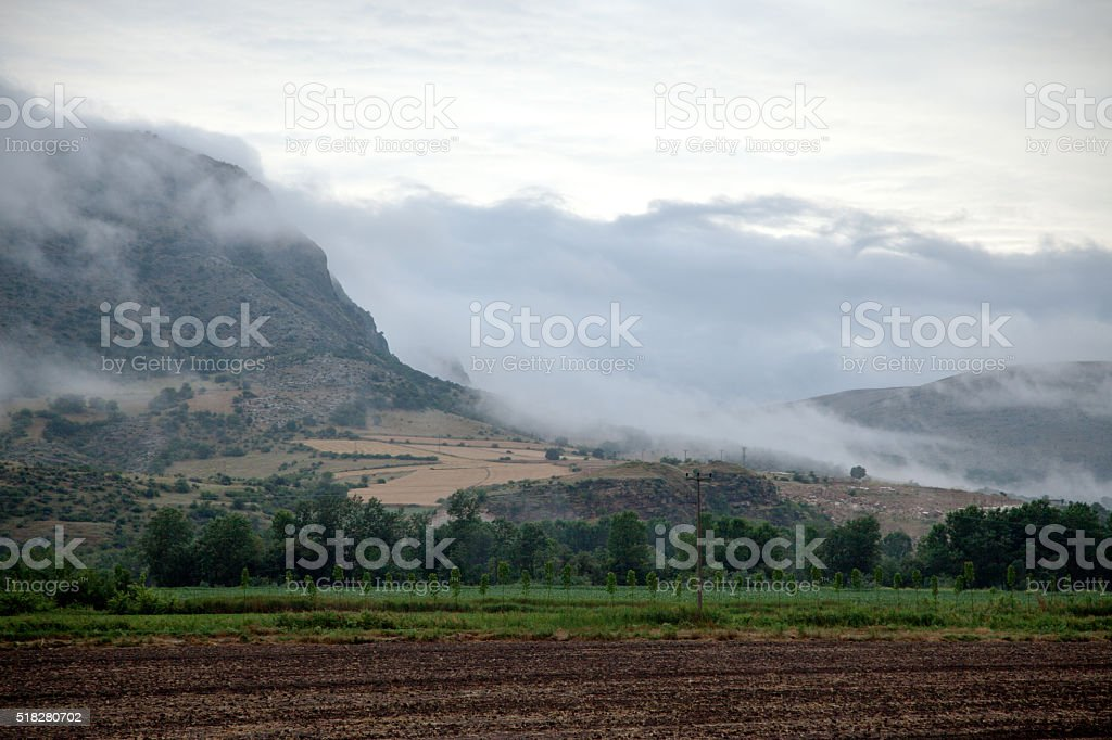 Field and Fog Mountain stock photo