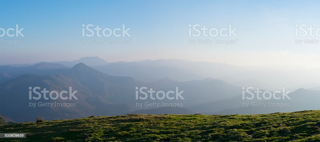 Field and mountains in nature, Basque Country stock photo