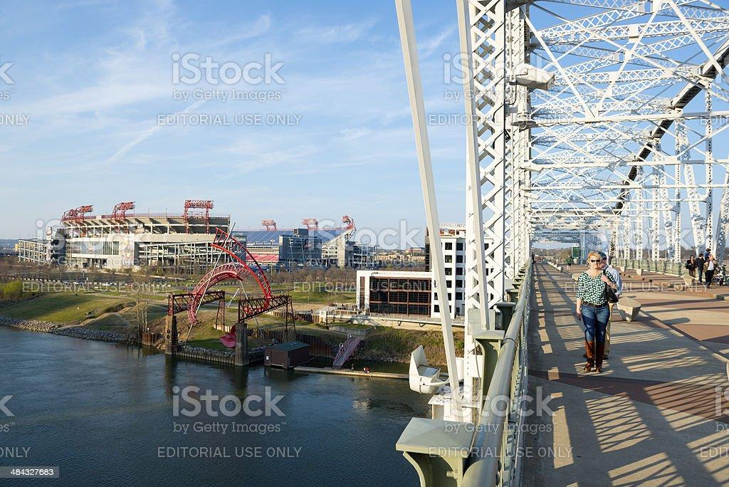 LP Field and Shelby Avenue Bridge - Nashville stock photo
