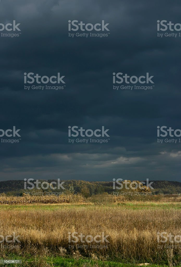 Field and Stormy Sky royalty-free stock photo