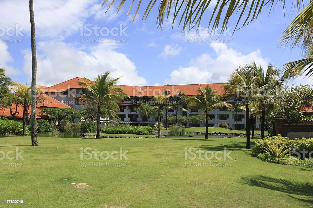 Field at the hotel on Bali royalty-free stock photo
