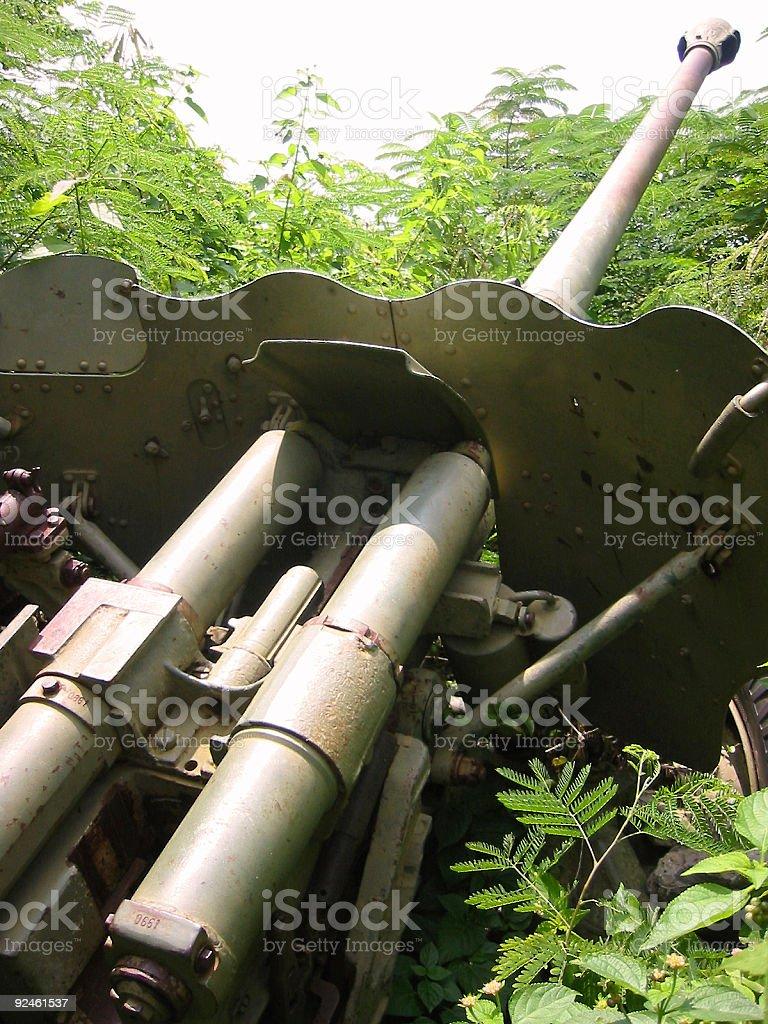 field gun jungle war cambodia royalty-free stock photo