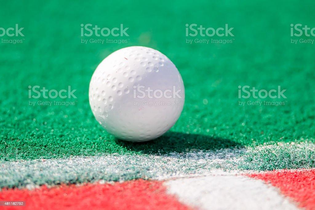 Field hockey ball ready for a corner stock photo