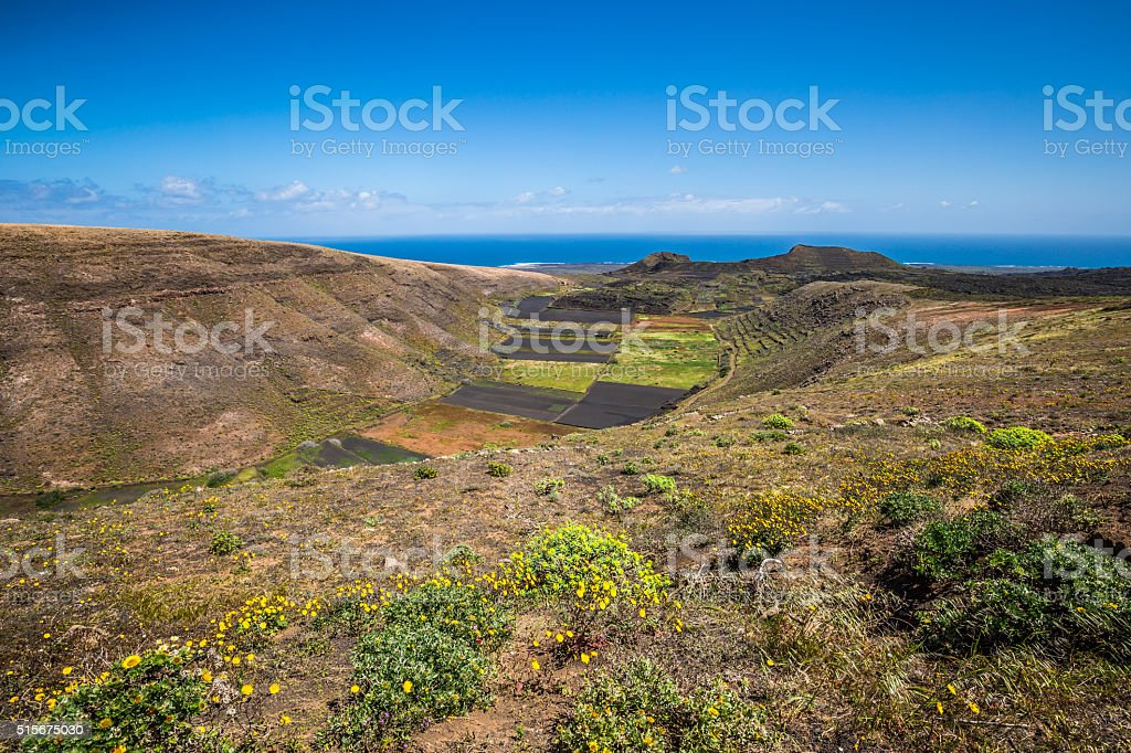 field in rural area with blue sky near Haria stock photo