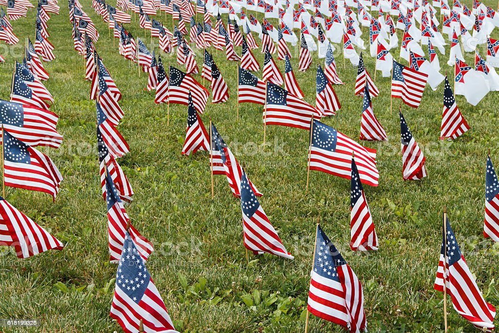 Field of American Civil War Union and Confederate Flags stock photo