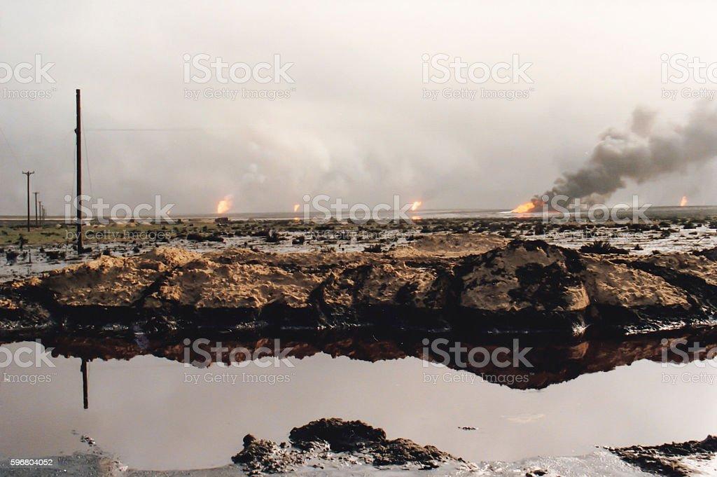 Field of burning oil wells, Persian Gulf War, Kuwait stock photo