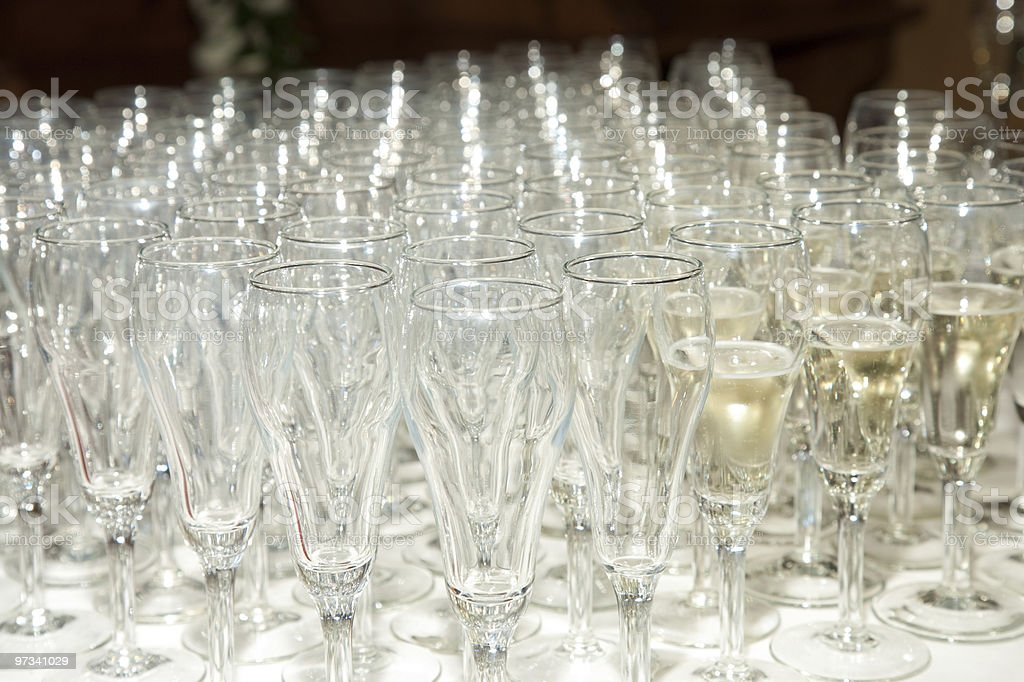 Field of Champagne glasses royalty-free stock photo