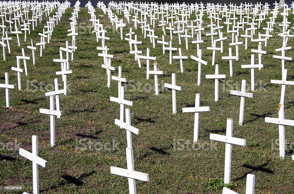 Field of Crosses stock photo
