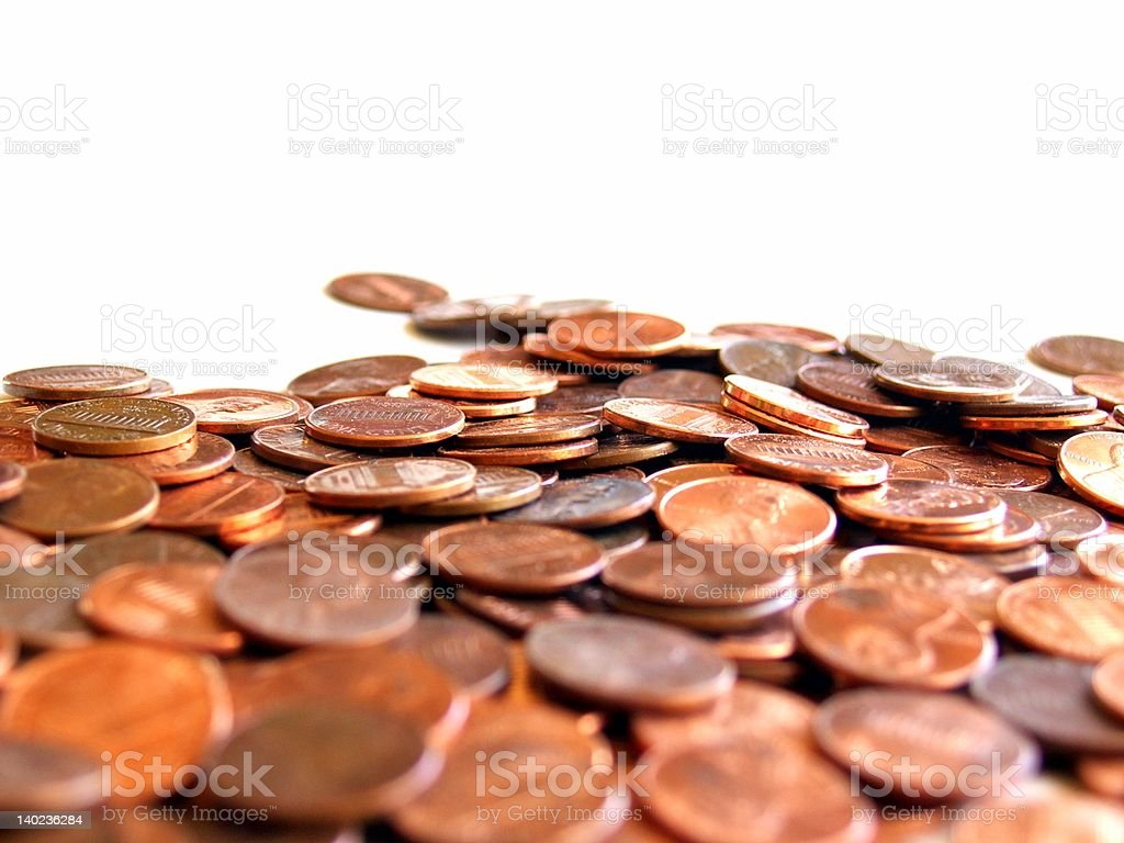 Field of pennies stock photo