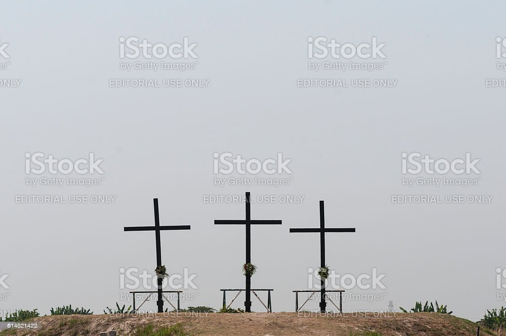 Field on which Easter crucifixions take place stock photo