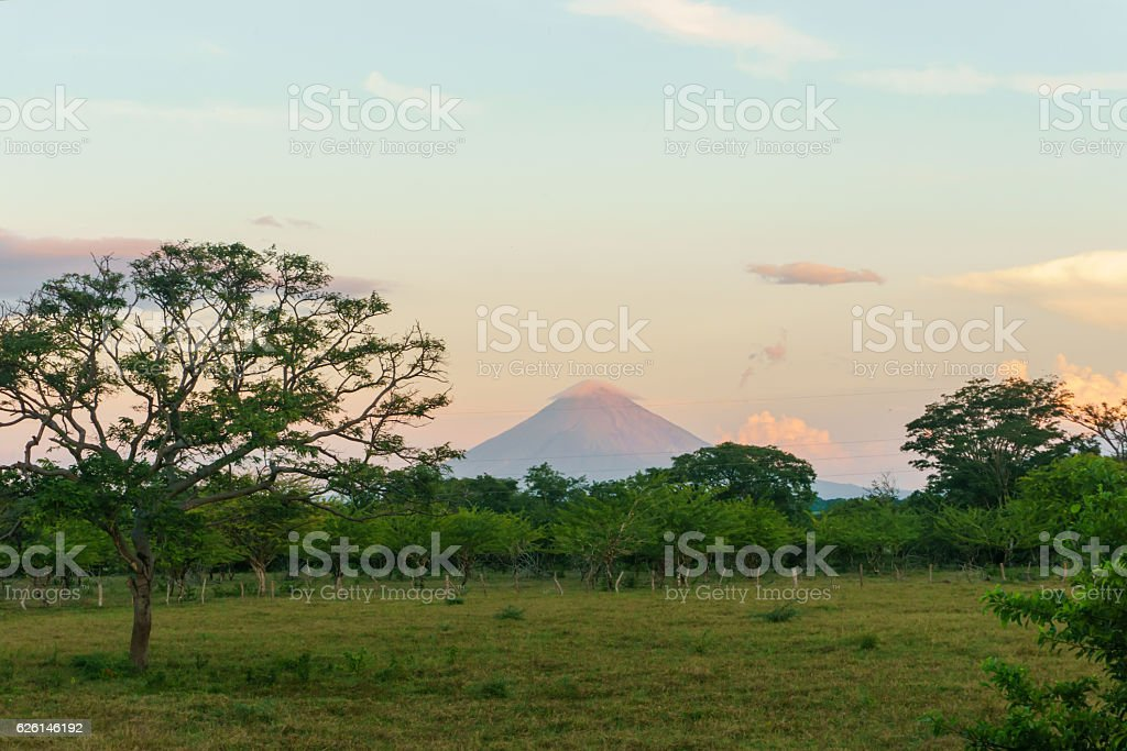 field view with volcano concepcion at background, Nicaragua stock photo